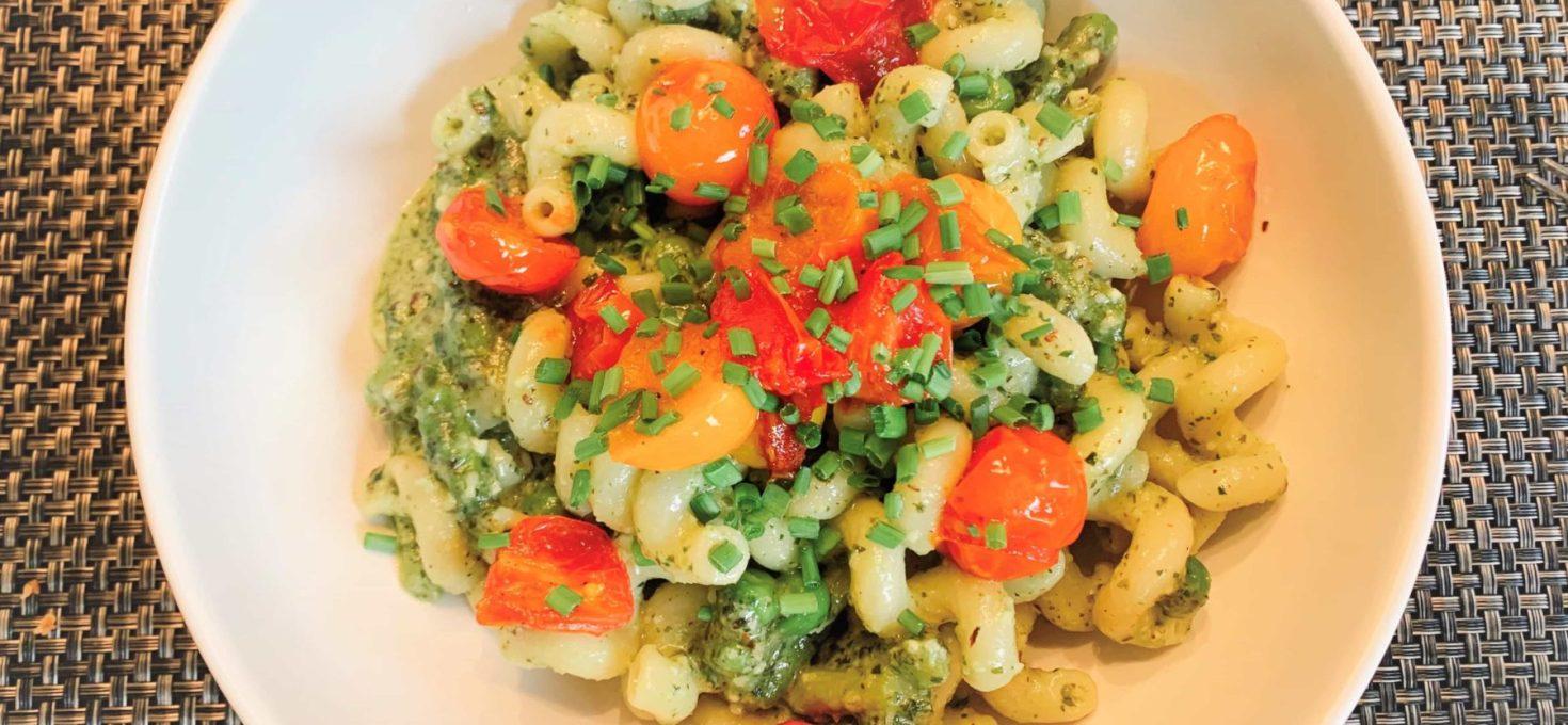 Toasted Hazelnut Pesto with Blistered Tomatoes