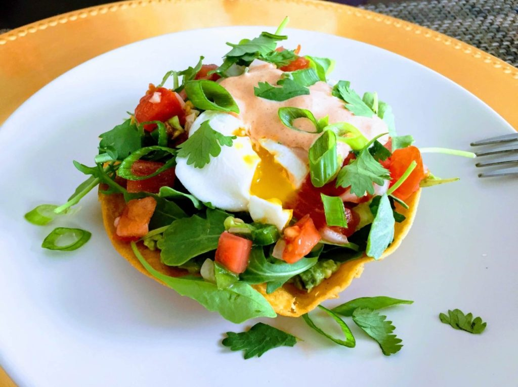 Tostada bowl egg mex toppings