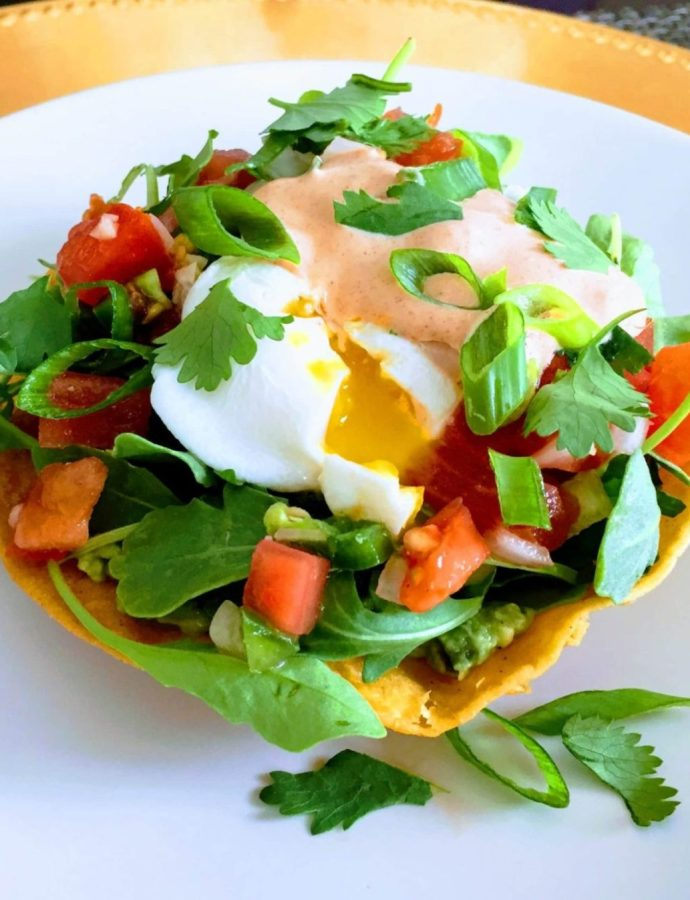 Tostada Brunch Bowl with Chipotle Lime Crema
