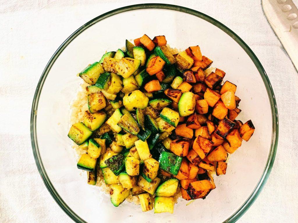 Veggie Quinoa Bowl_add veg to bowl