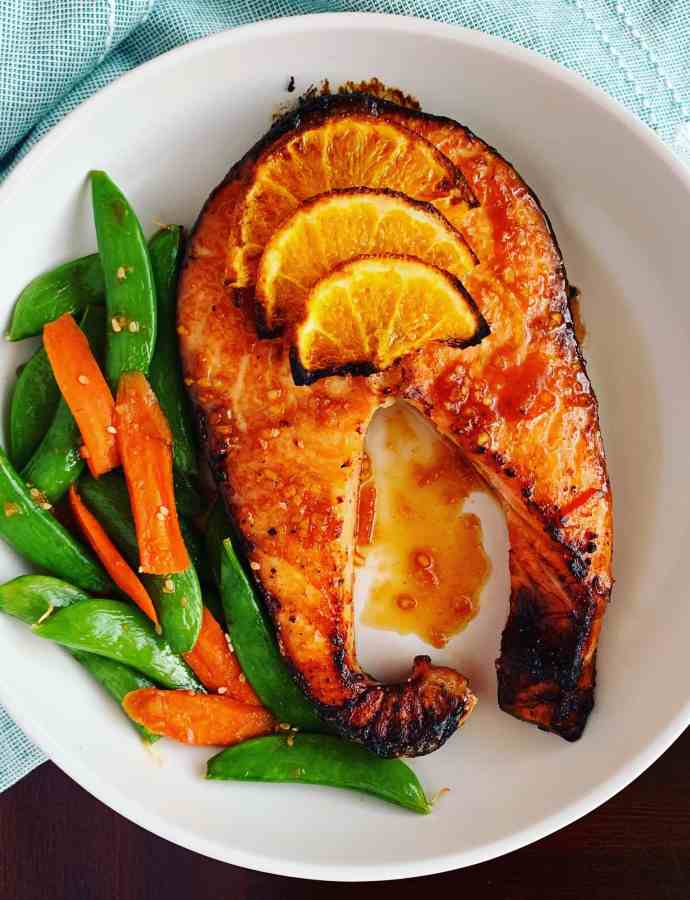 Orange Ginger Salmon with Sesame Peas & Carrots