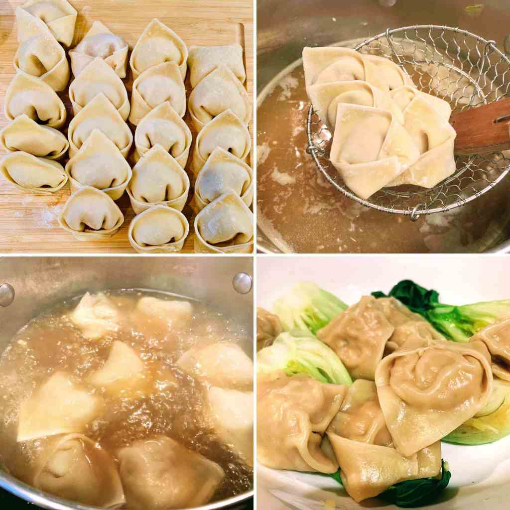 Ginger Chicken Wonton Soup_4 steps to cook wontons