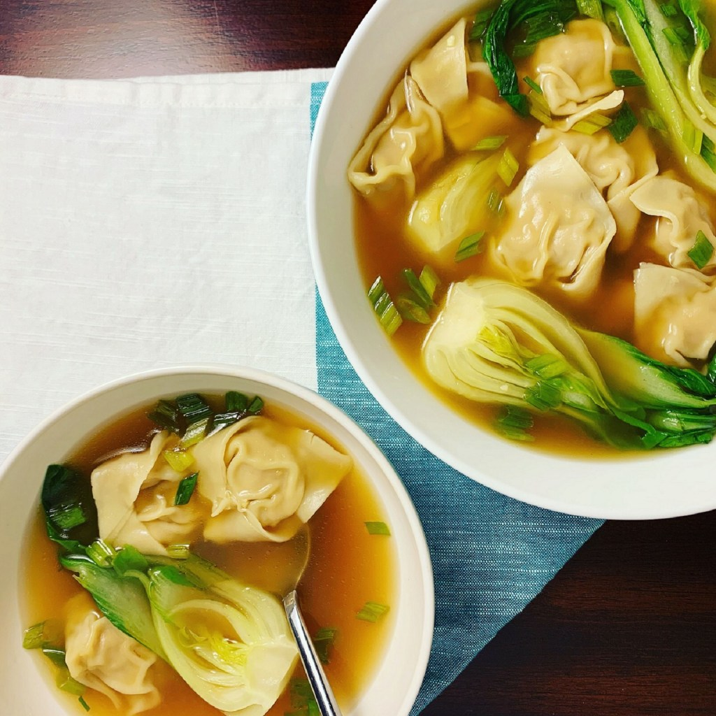 Ginger Chicken Wonton Soup_topview with spoon_1600px