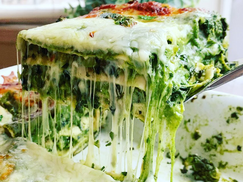 Mean Green Vegetable Lasagna_stringy cheese