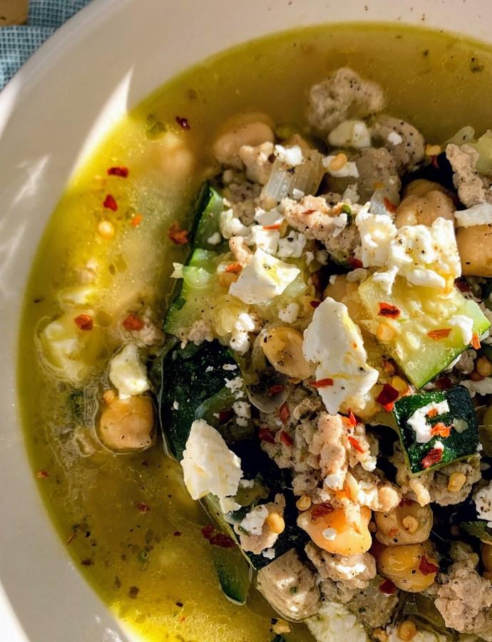 Mediterranean Chicken, Chickpea & Zucchini Soup