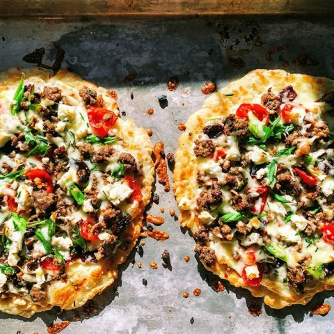 Flatbread Pizza Recipe with Cherry Peppadew Sausage