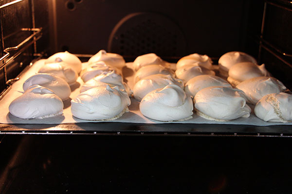 Aquafaba coffee meringues, finished cooking.