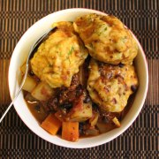 Black bean and quinoa stew with herby dumplings.