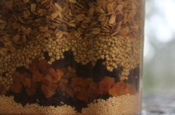 Cinnamon muesli ingredients, ready to mix.
