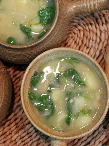 Leek, potato and cannellini bean soup.
