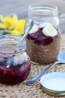 Chocolate overnight oats with chia jam.