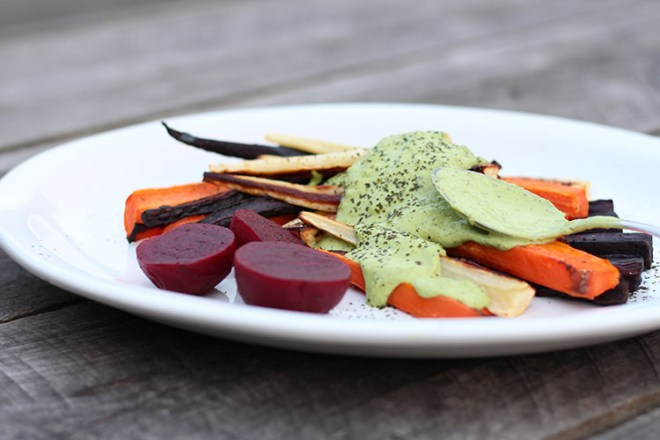Roast vegetables with green cashew sauce.
