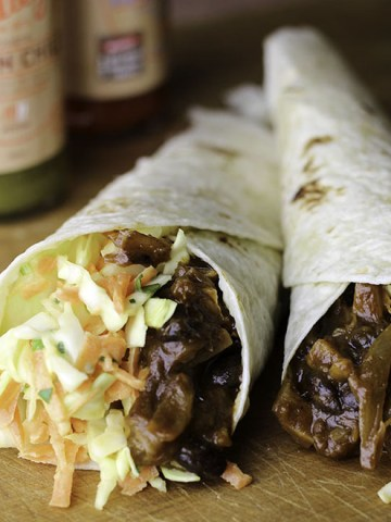 Jackfruit and black bean wraps.