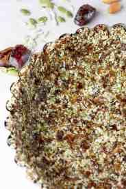 Cheesecake crust pressed into pie tin.