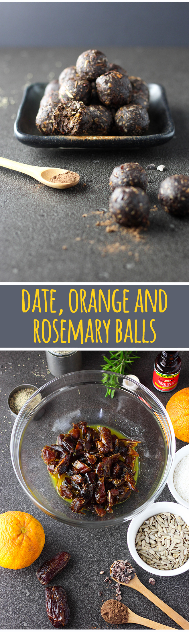 Date, orange and rosemary balls are dark and delicious, a bit grown up and a little bit healthy.