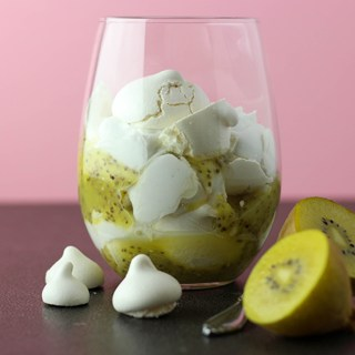 A foolish mess - golden kiwifruit, vegan meringue and whipped coconut cream.