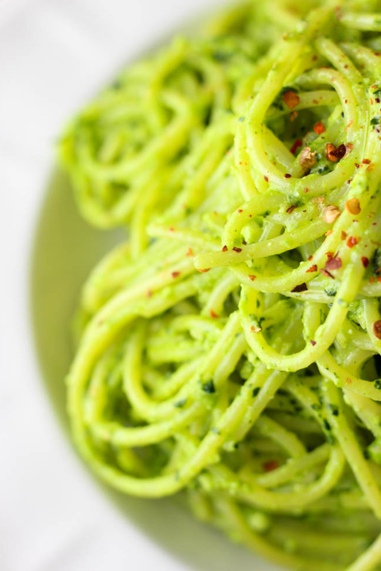 Kale pesto tossed with spaghetti.