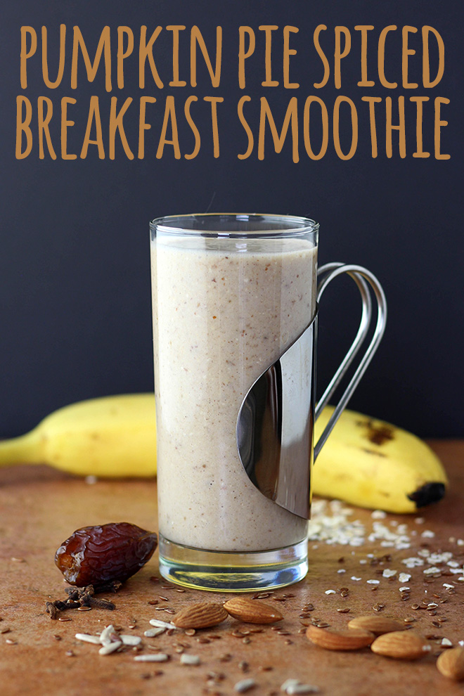 This pumpkin pie spiced breakfast smoothie is a comforting way to start the day.