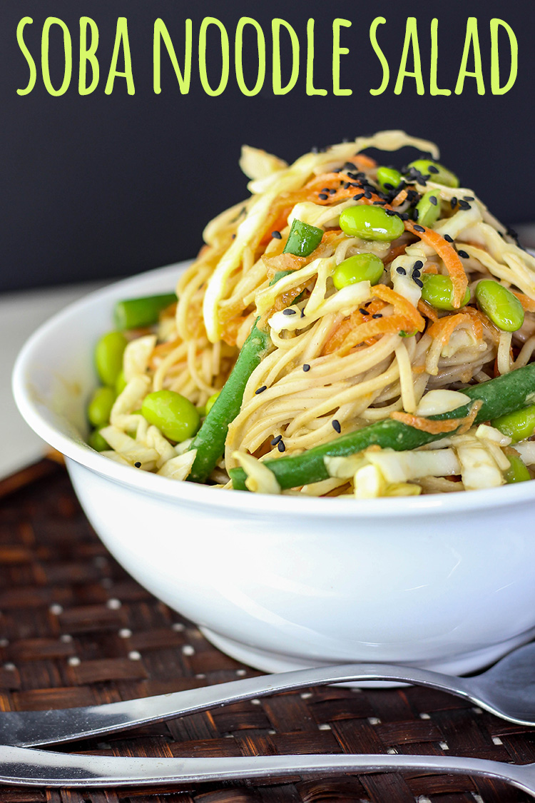 A simple and refreshing cold soba noodle salad with a flavour packed miso and tahini dressing.