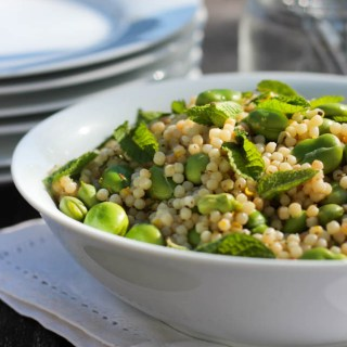Broad bean and Israeli couscous salad.