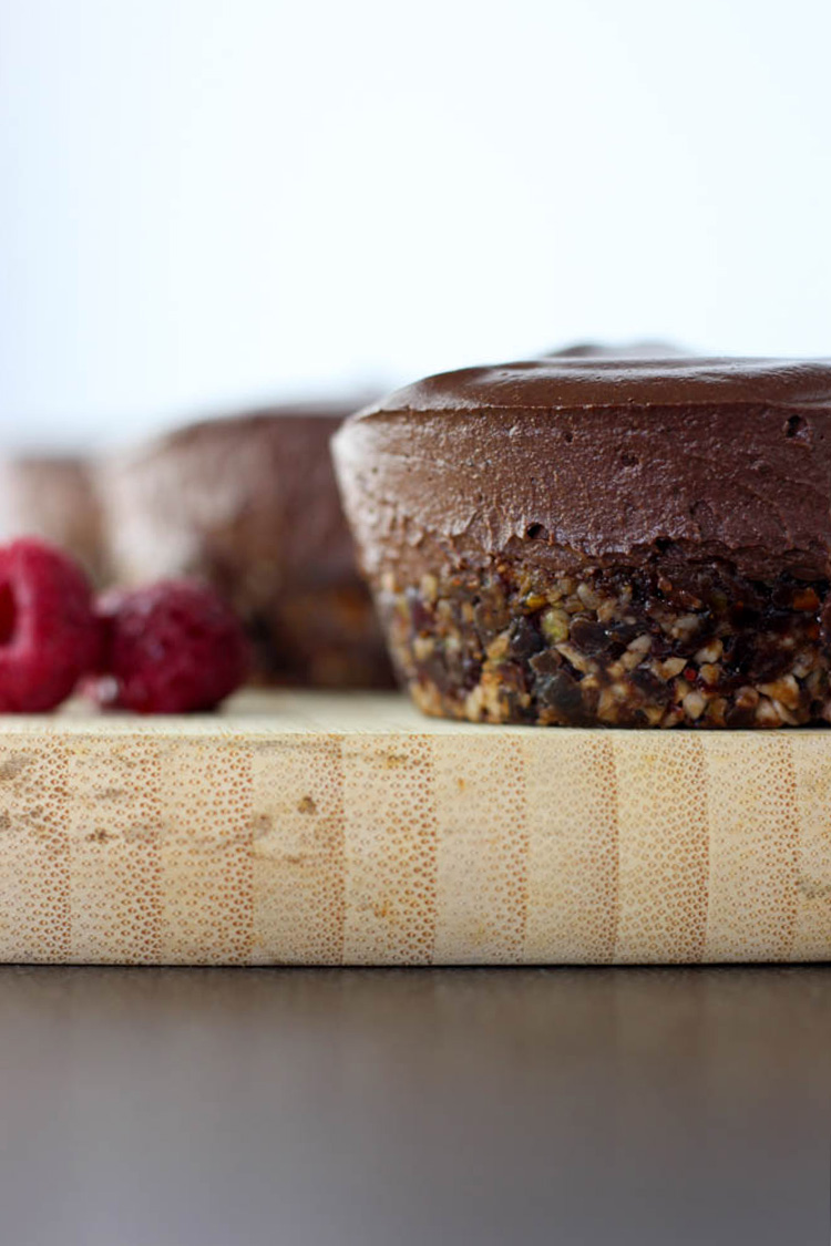 Chocolate and raspberry mini vegan cheesecakes.