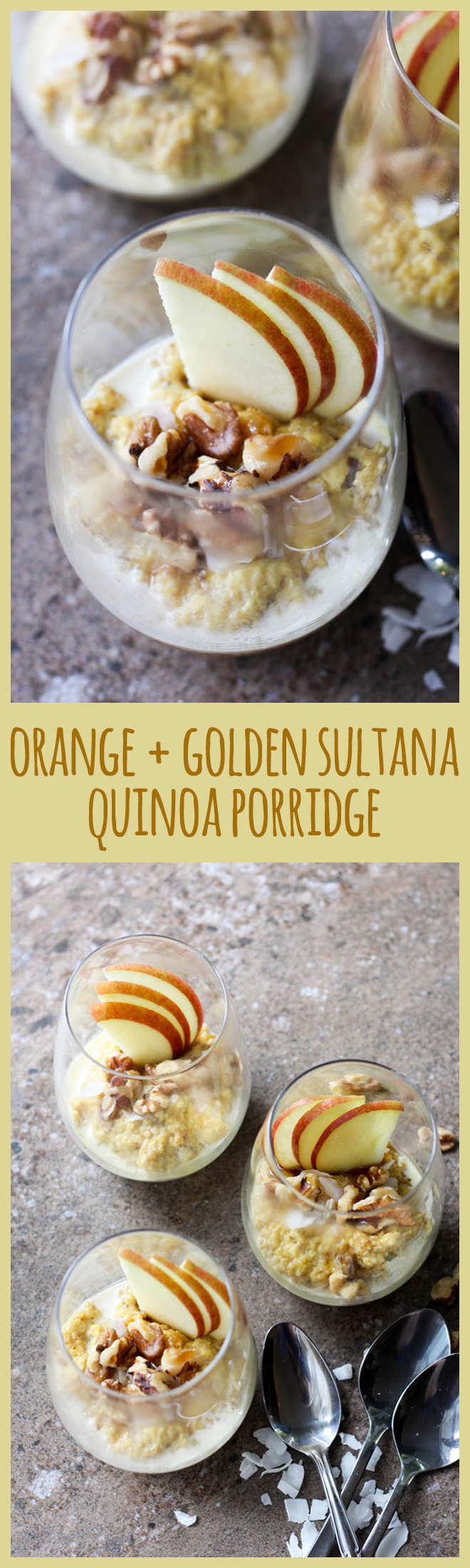 Creamy quinoa porridge with sweet golden sultanas is a comforting and nutritious start to the day.
