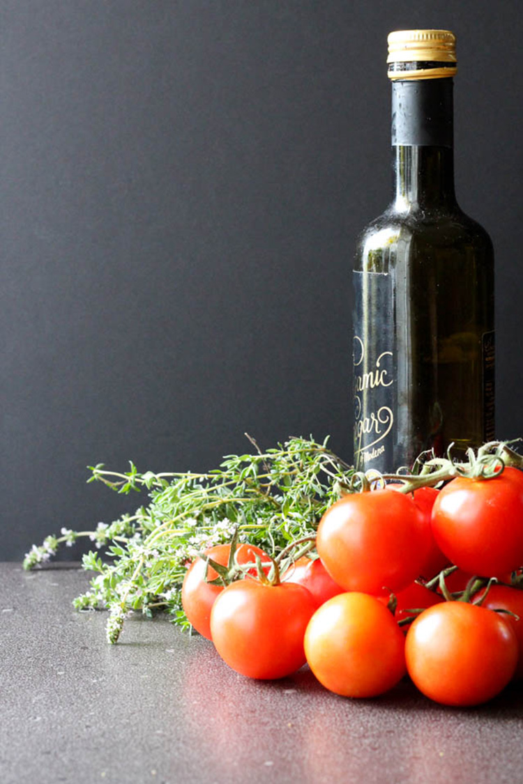 Balsamic vinegar, fresh thyme and tomatoes.