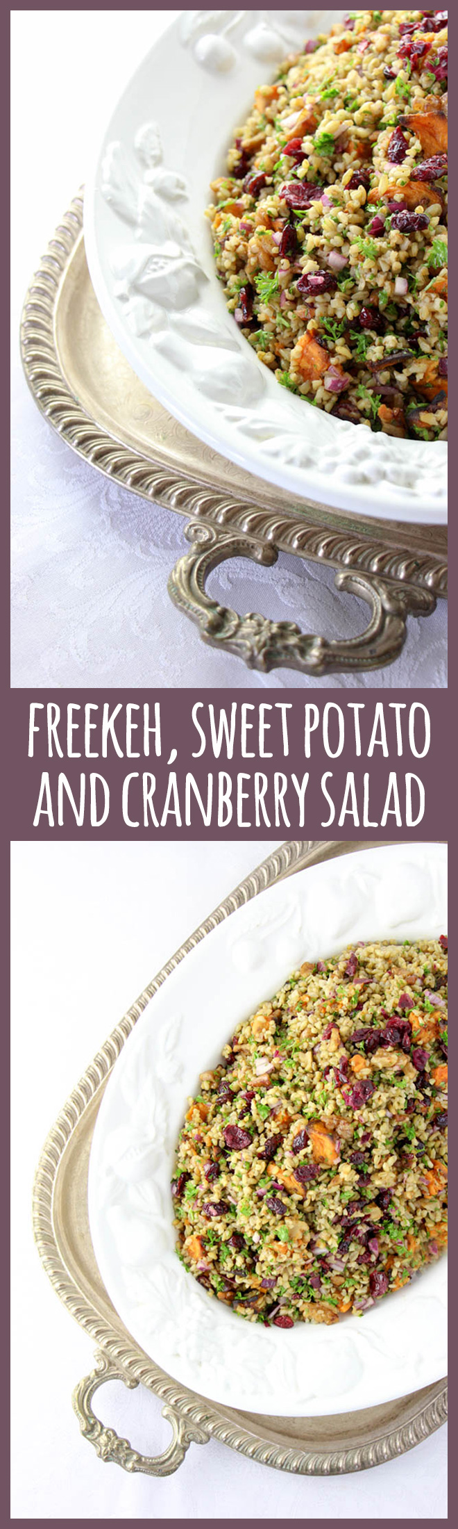 Oh yes, this festive combination of toasty freekeh, roast kumara, cranberries and walnuts with a maple and red wine vinegar dressing is fabulously delicious!