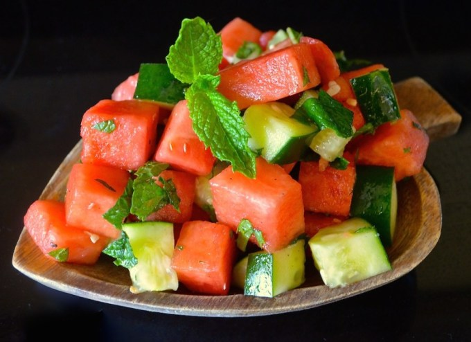 Minted watermelon and cucumber salad.