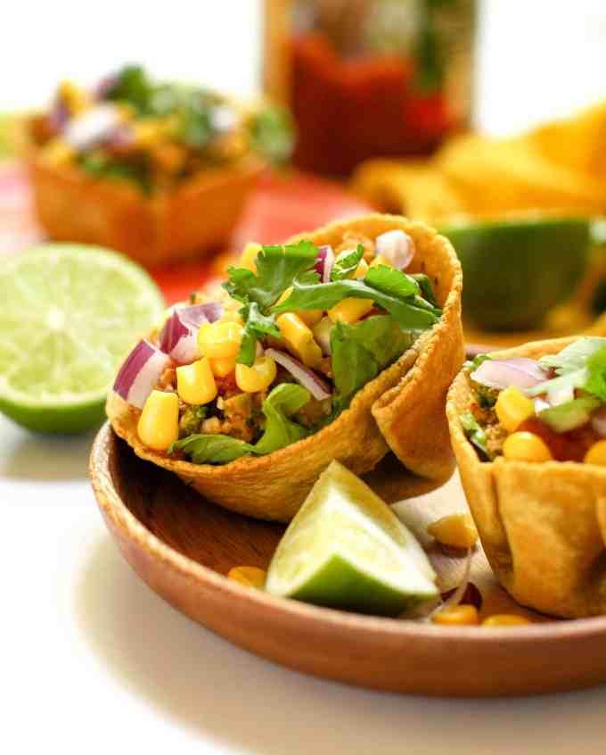 Vegan taco salad cups.