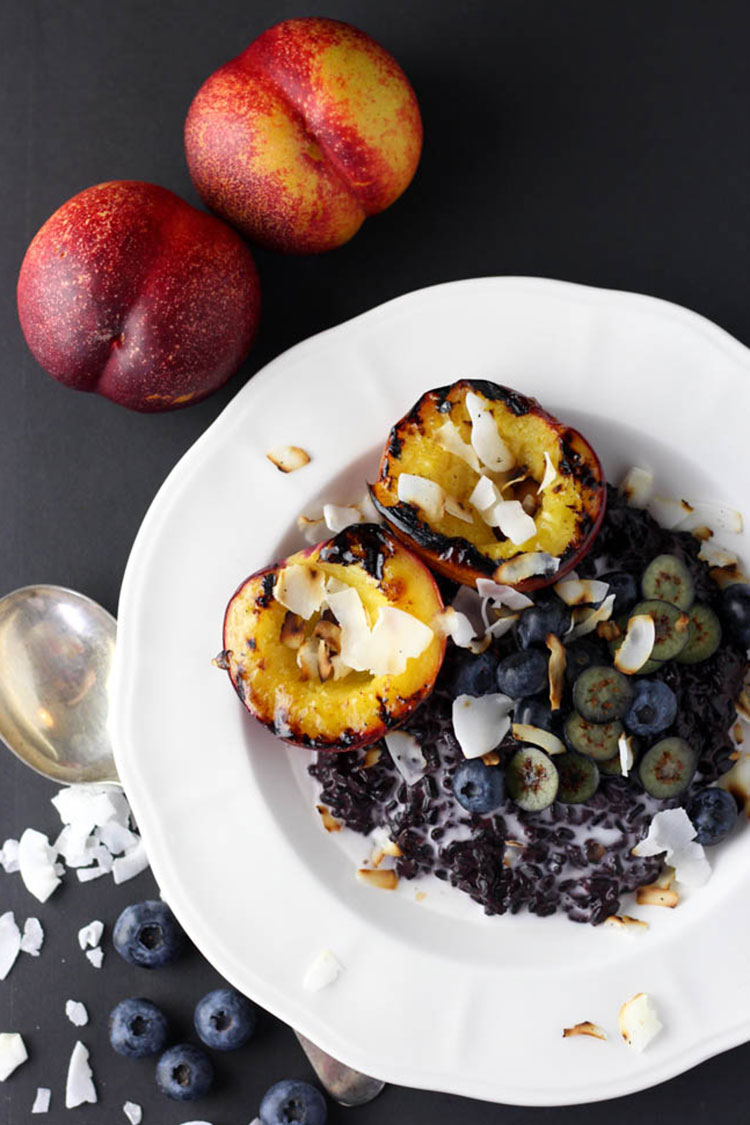 Black rice pudding with grilled nectarine.