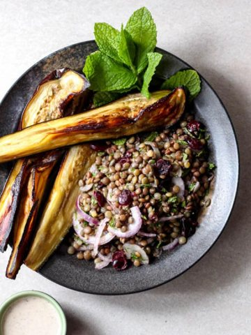 Eggplant and lentil salad with sumac tahini dressing.