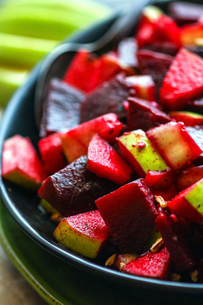 Marinated beet and apple salad.
