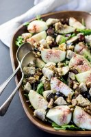 Fresh fig, grape and walnut salad with grape vinaigrette.