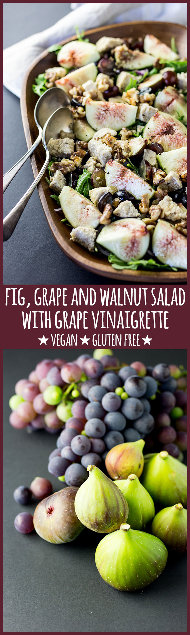 Fresh fig, grape and walnut salad with grape vinaigrette (vegan and gluten free).