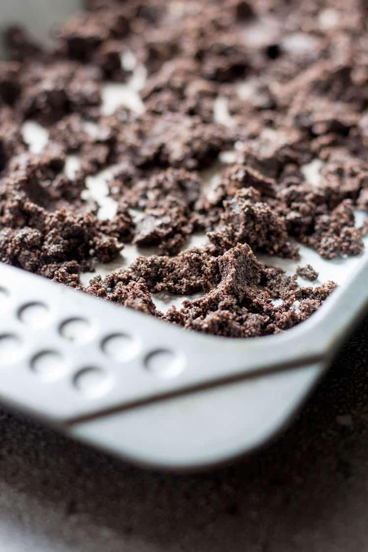 Cookie crumb for vegan cookies and cream ice cream.