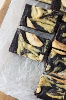 Chocolate and pear brownie with a cashew swirl: vegan, gluten free and refined sugar free.