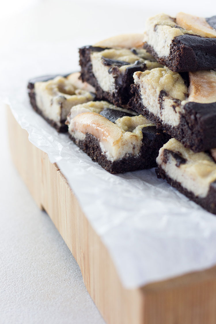 Chocolate and pear brownie with a cashew swirl.