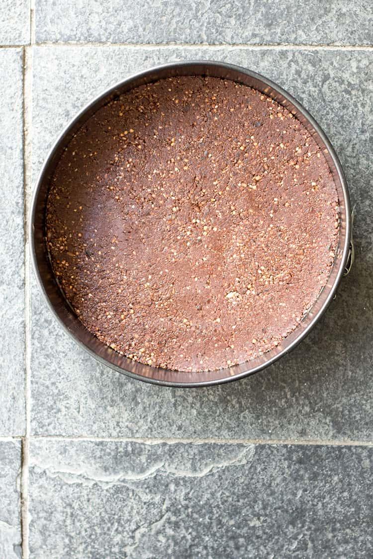 Nut-free, raw vegan cheesecake base.
