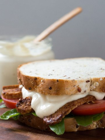 Easy five-minute vegan mayonnaise made with a silken tofu base.