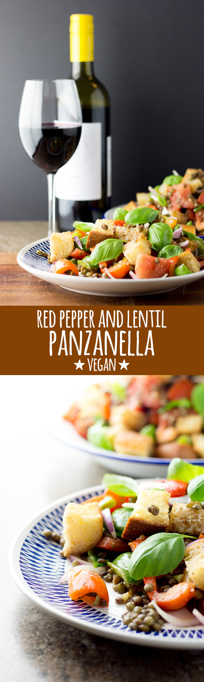 A simple and delicious panzanella salad with green lentils, mixed peppers and tomatoes dressed with a light and bright red wine vinaigrette.