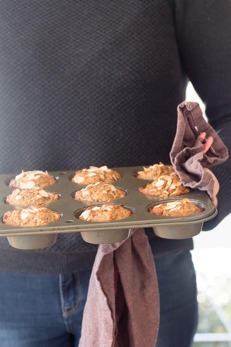 Almond, apple and banana breakfast muffins.