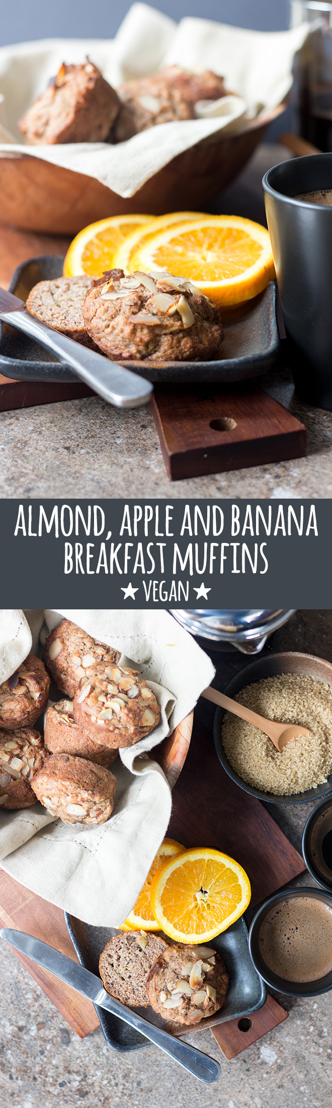 Nourishing almond, apple and banana muffins made with mixed flours and a good dose of LSA are a healthy snack or breakfast on the go.