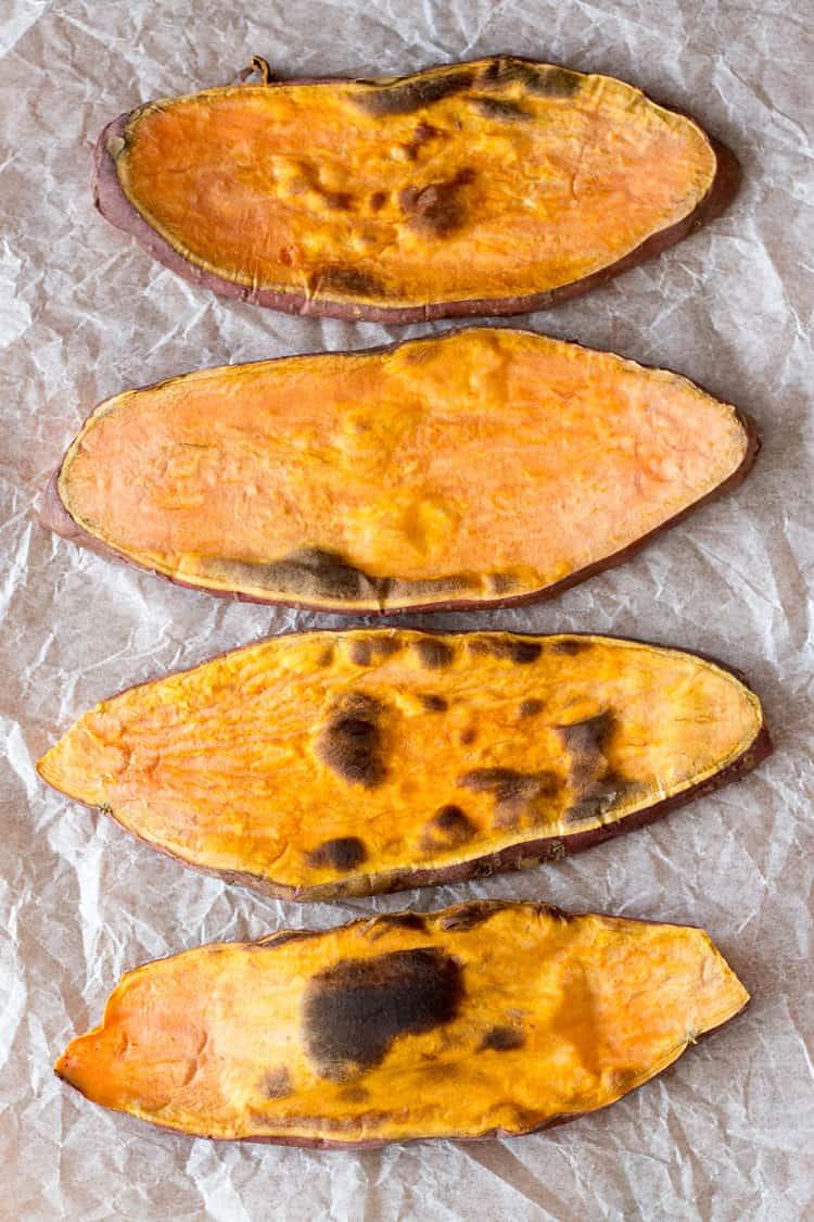 Orange kumara (sweet potato) toast.