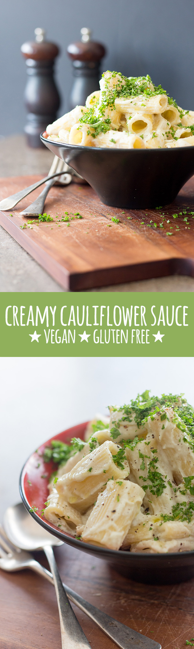 Creamy, dreamy pasta sauce made with cauliflower, cashews and a few simple flavourings.