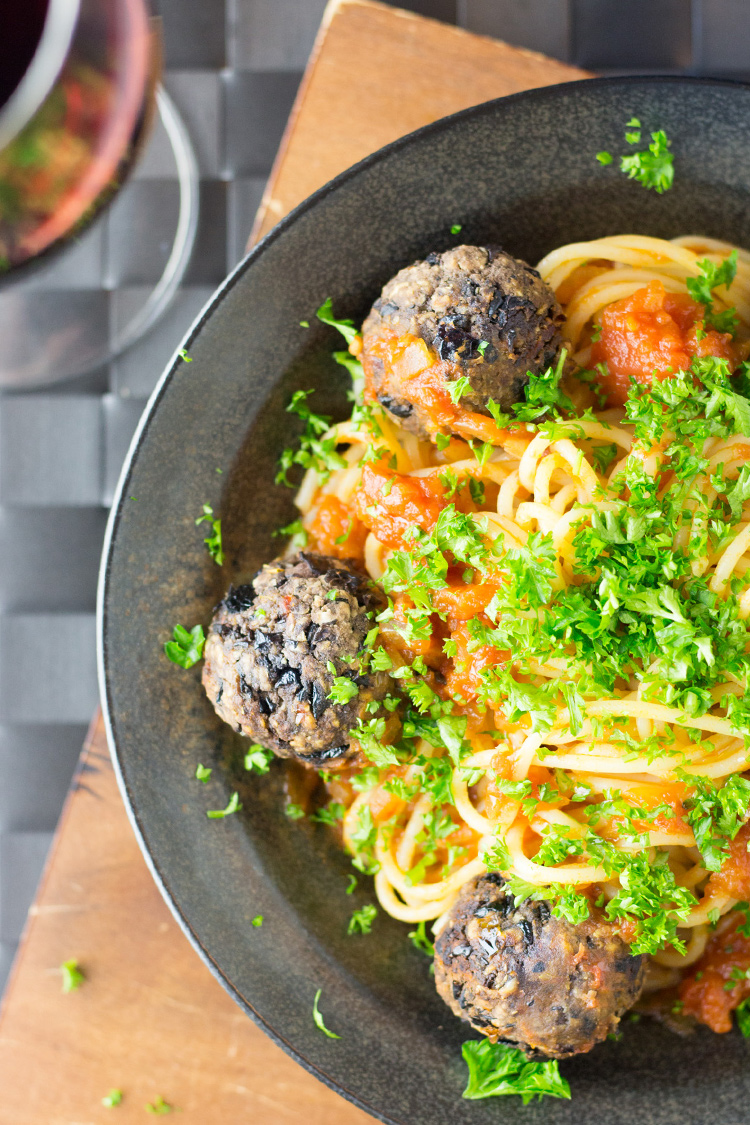 Vegan spaghetti and meatballs. Gluten free meatballs made with black beans, olives and sundried tomatoes.