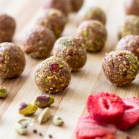 Pistachio, cardamom and strawberry bliss balls