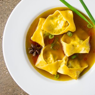 Tofu and shiitake mushroom wonton soup