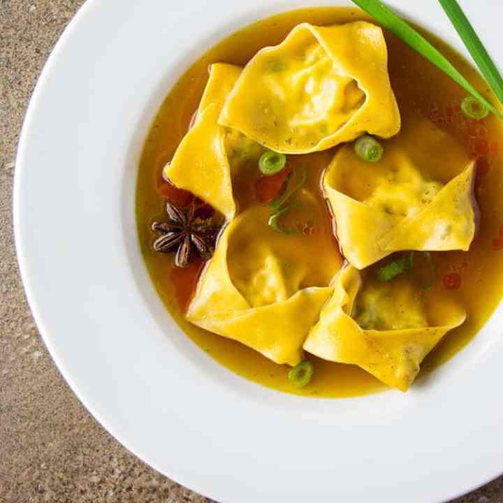 Tofu and shiitake mushroom wonton soup (vegan).