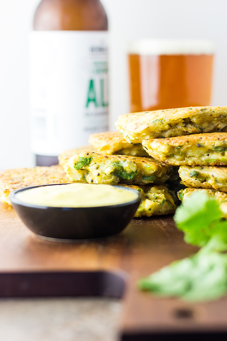 Spiced cauliflower fritters (vegan and gluten free).